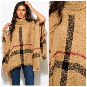 Fall poncho turtleneck in camel plaid